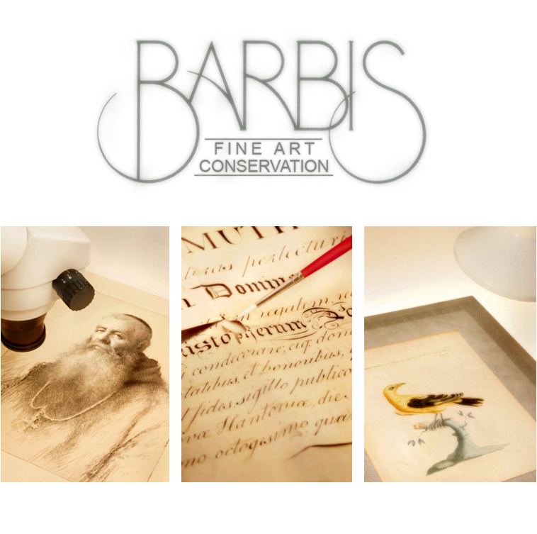 Barbis Fine Art Conservation logo and photographs of art being restored